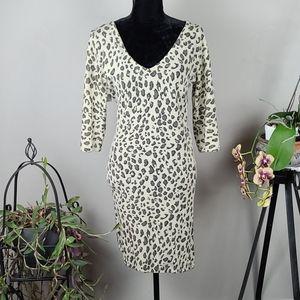 AKUALANI Dress Animal Print Cream Brown Mini